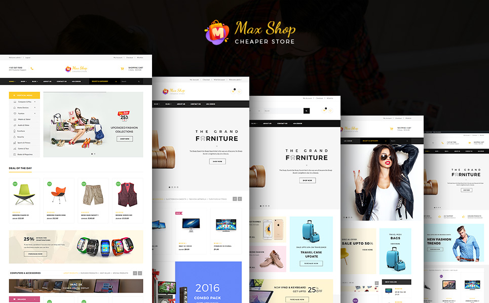 Website Design Template 64048 - ecommerce electronic store electronics theme