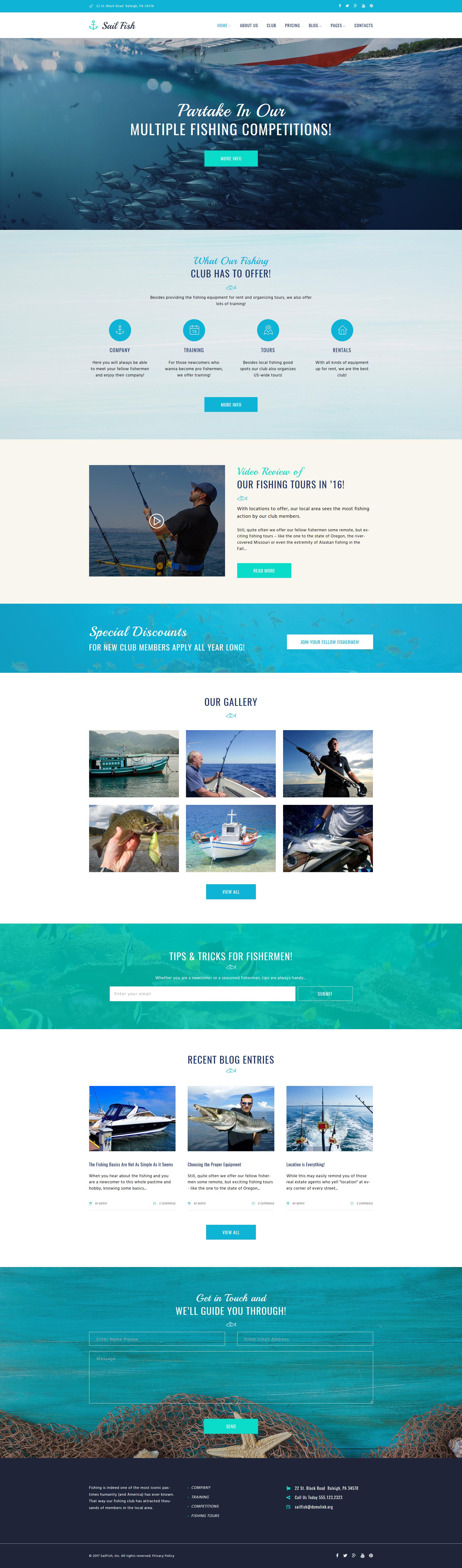 Адаптивный шаблон сайта на тему рыбалка #64023