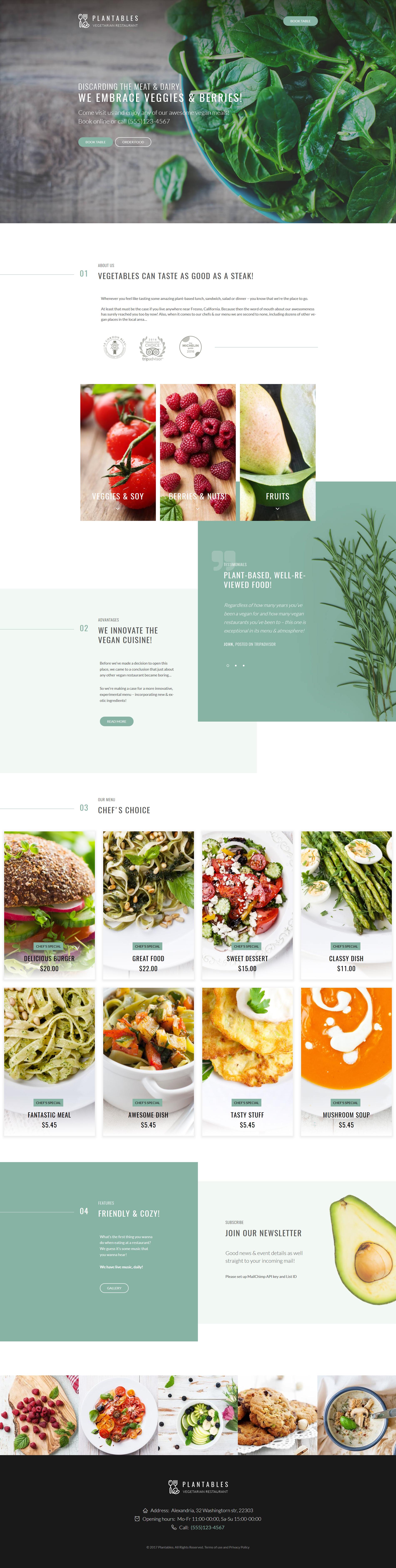 Адаптивный шаблон сайта на тему вегетарианский ресторан #64052