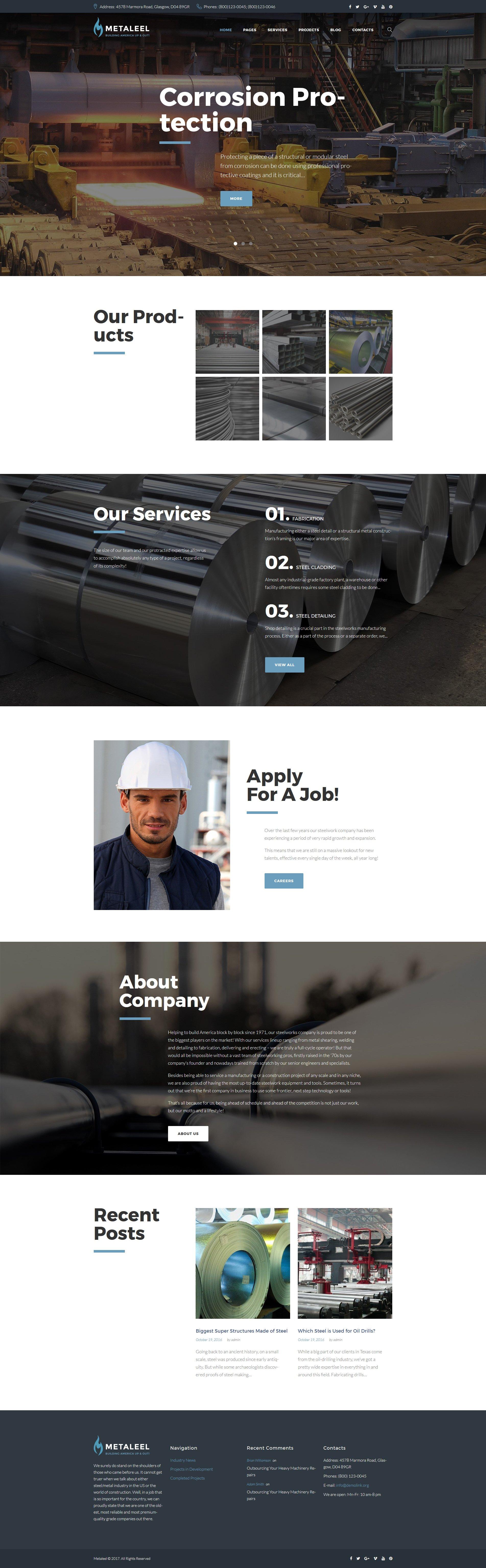 Адаптивный шаблон сайта на тему металлургическая компания #64053