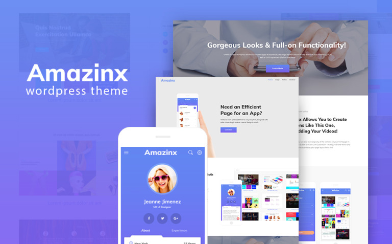 Amazinx - Mobile App Responsive One Page WordPress Theme New Screenshots BIG