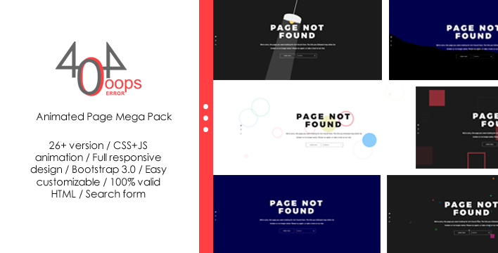 """404 - Animated Page Mega Pack"" 响应式网页模板 #64059"