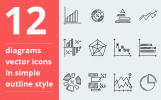Diagrams vector Iconset Template