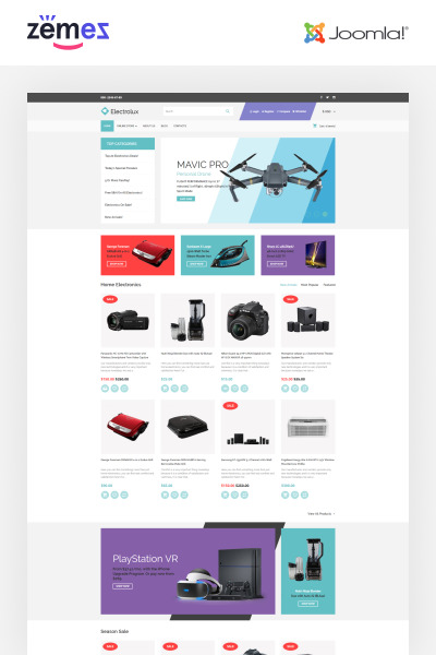 Electronics Store Responsive VirtueMart Template #64014