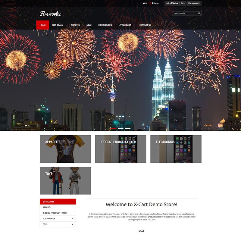 """Fireworks"" Responsive X-Cart Template №64025"