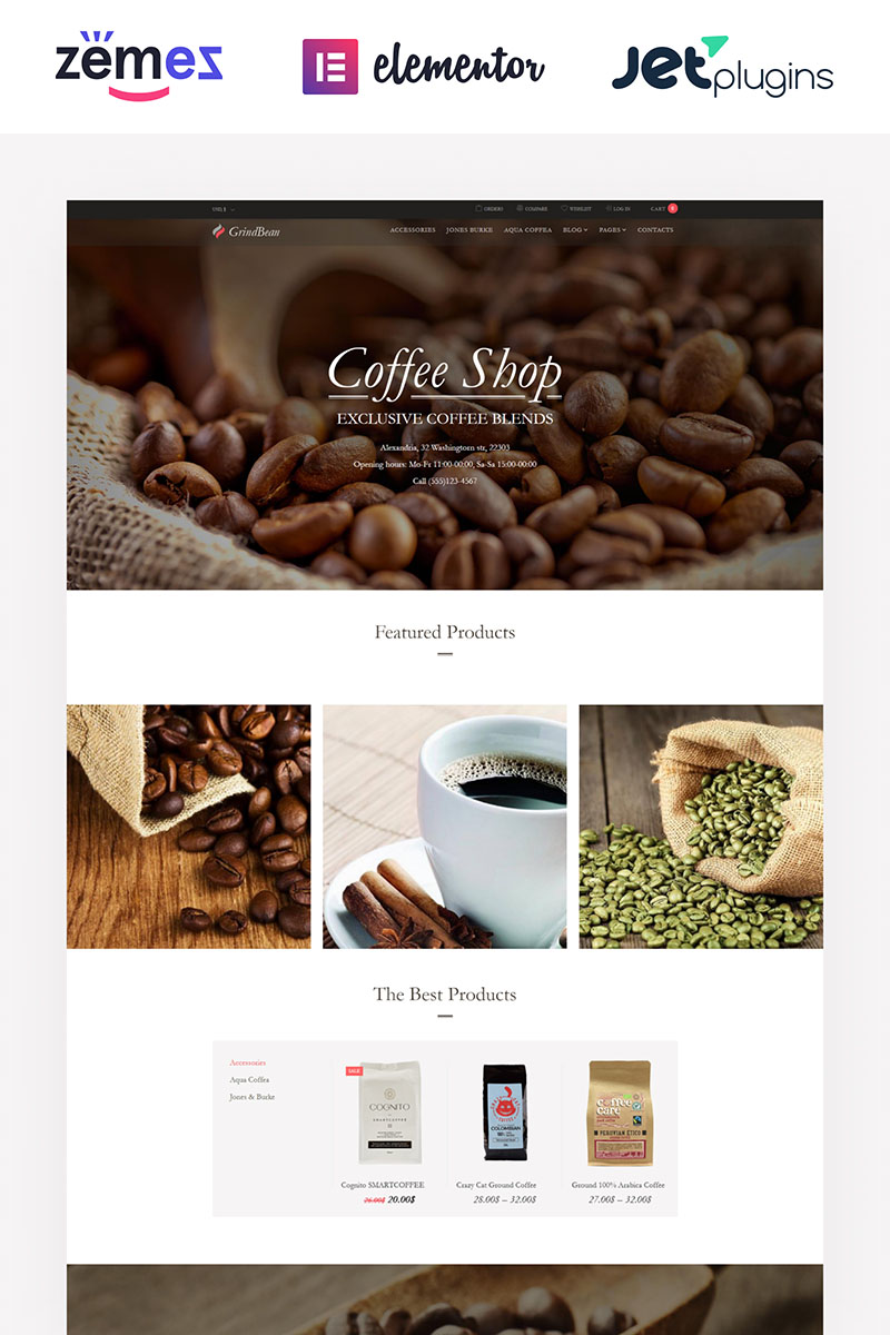 """GrindBean - Coffee Shop"" - адаптивний WooCommerce шаблон №64026"