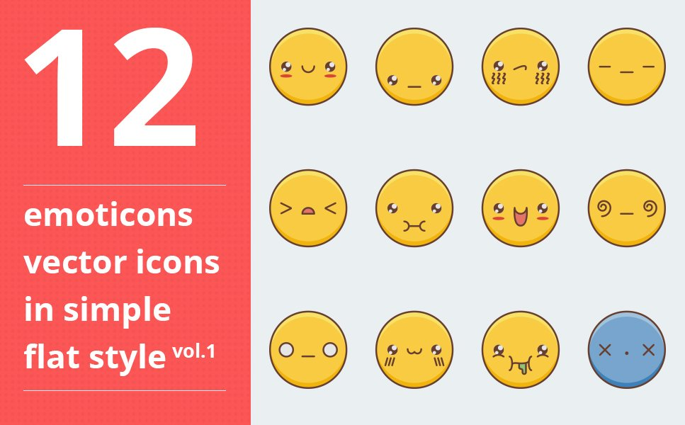 "Iconset šablona ""Emotions vector icons set vol.1"" #64091"