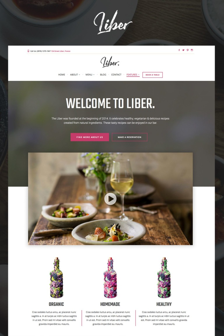 Liber - Restaurant & Bar WordPress Theme Big Screenshot
