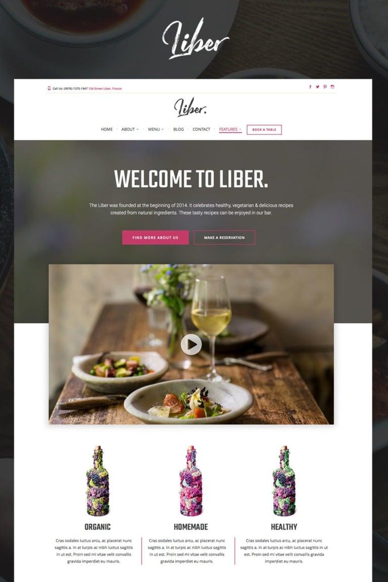 Liber - Restaurant & Bar WordPress Theme Big Screenshot