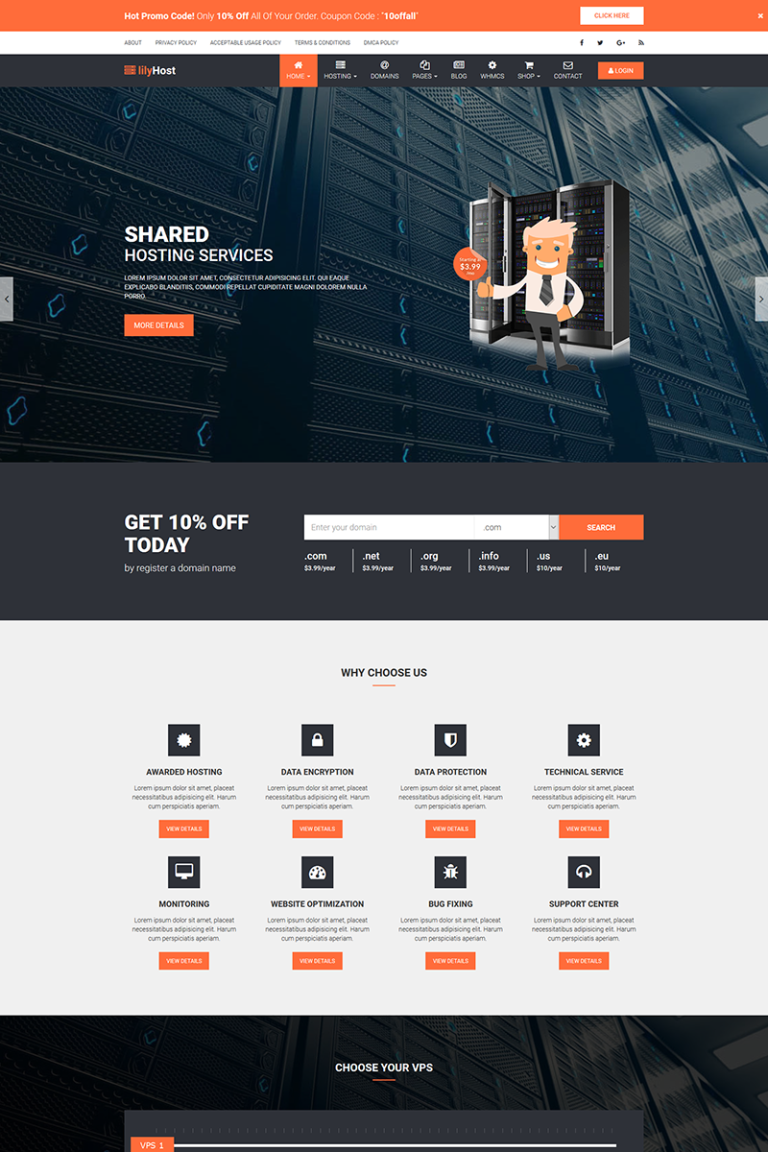 lilyHost | Responsive HTML5 Hosting WHMCS Website Template Big Screenshot