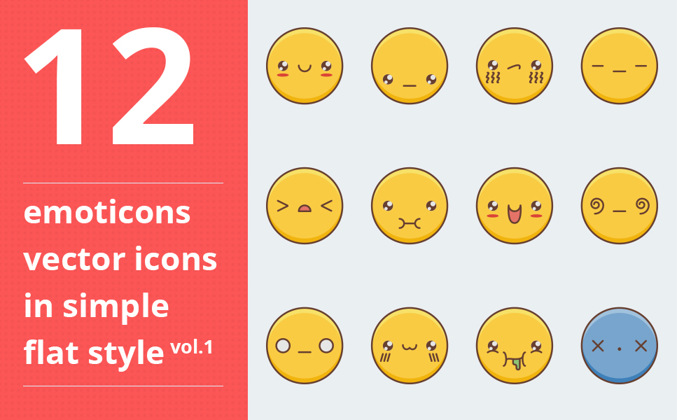 "Modello Pacchetto Icone #64091 ""Emotions vector icons set vol.1"""