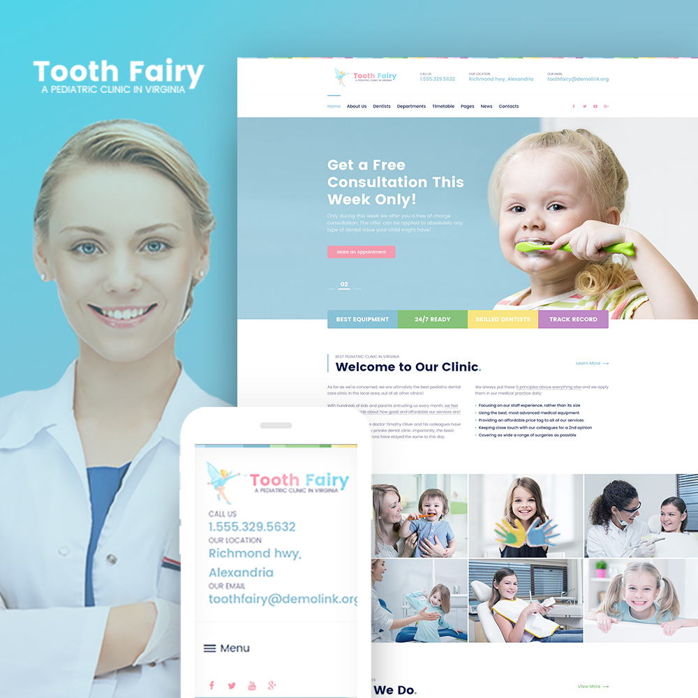 "Modello WordPress Responsive #64016 ""Tooth Fairy - Pediatric Dentistry"" - screenshot"