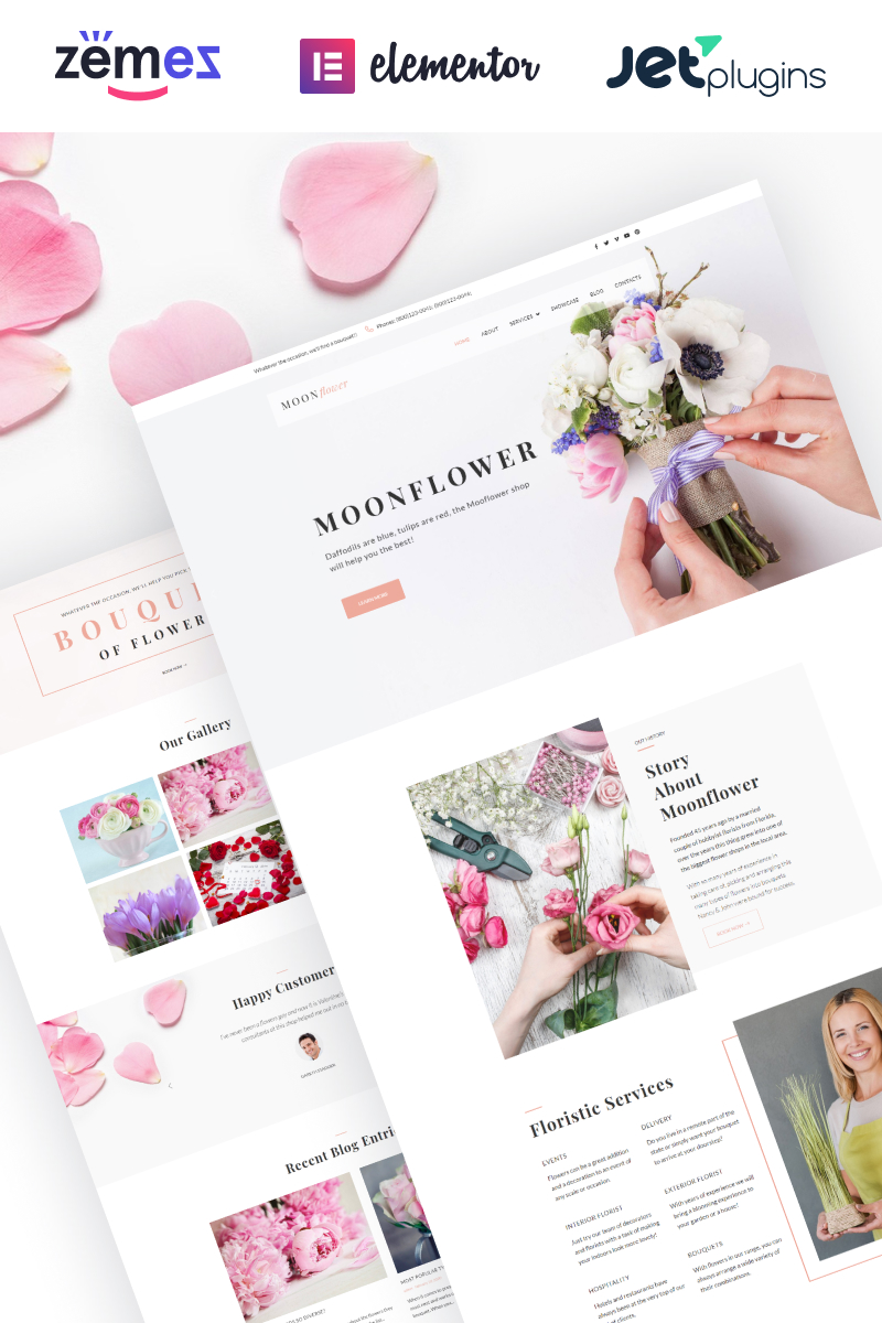 """Moon Flower - Flower Shop"" - адаптивний WordPress шаблон №64080"