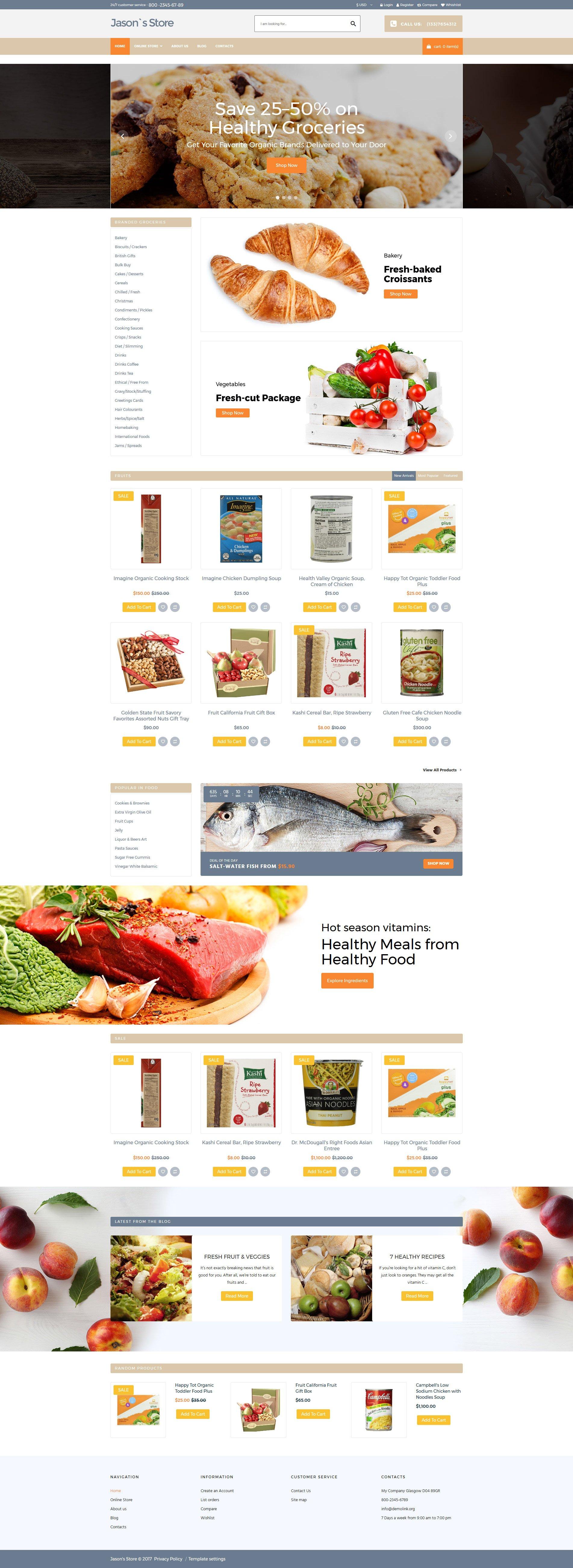 Plantilla VirtueMart #64033 para Sitio de Tienda de Comestibles - captura de pantalla