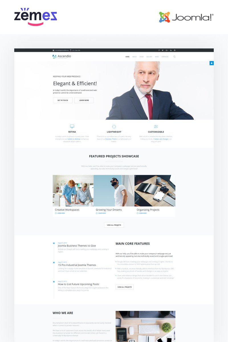 Responsive Ascendio - Business and Services Multipage Joomla #64021