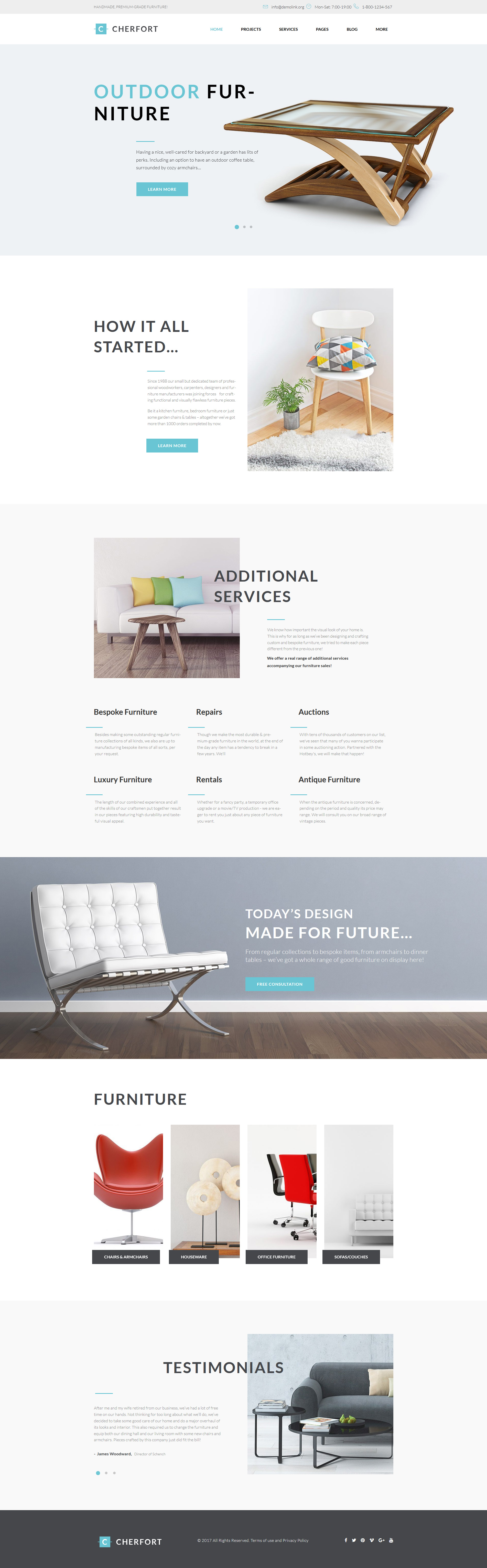 Responsywny motyw WordPress Cherfort - Furniture Company Responsive #64097