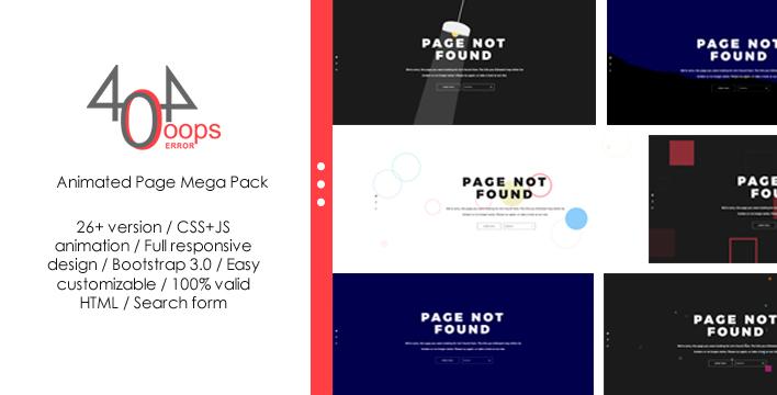 Responsywny szablon strony www 404 - Animated Page Mega Pack #64059