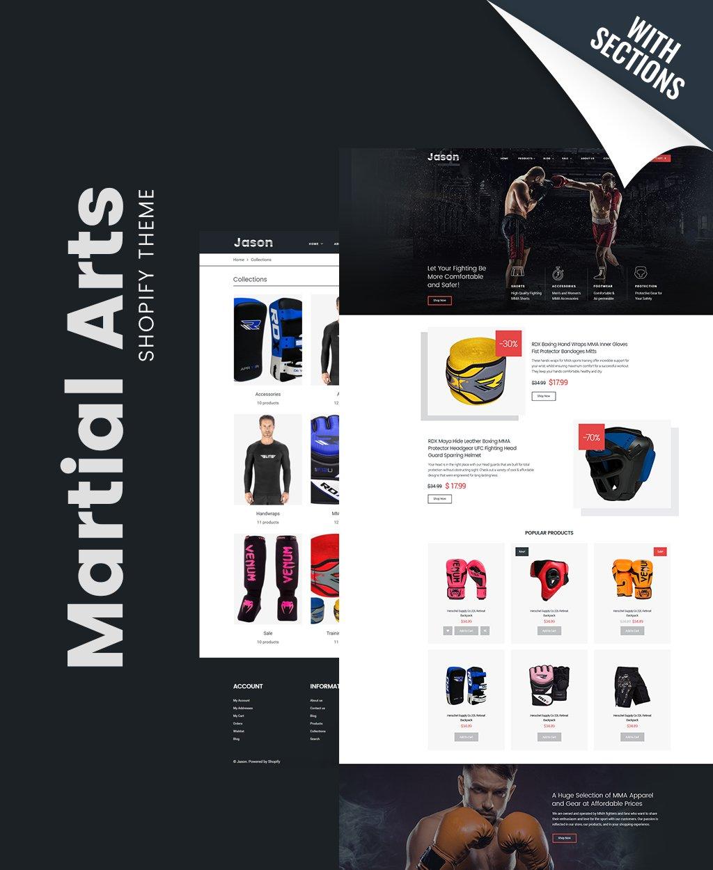 Tema Shopify Responsive para Sitio de Artes marciales #64086