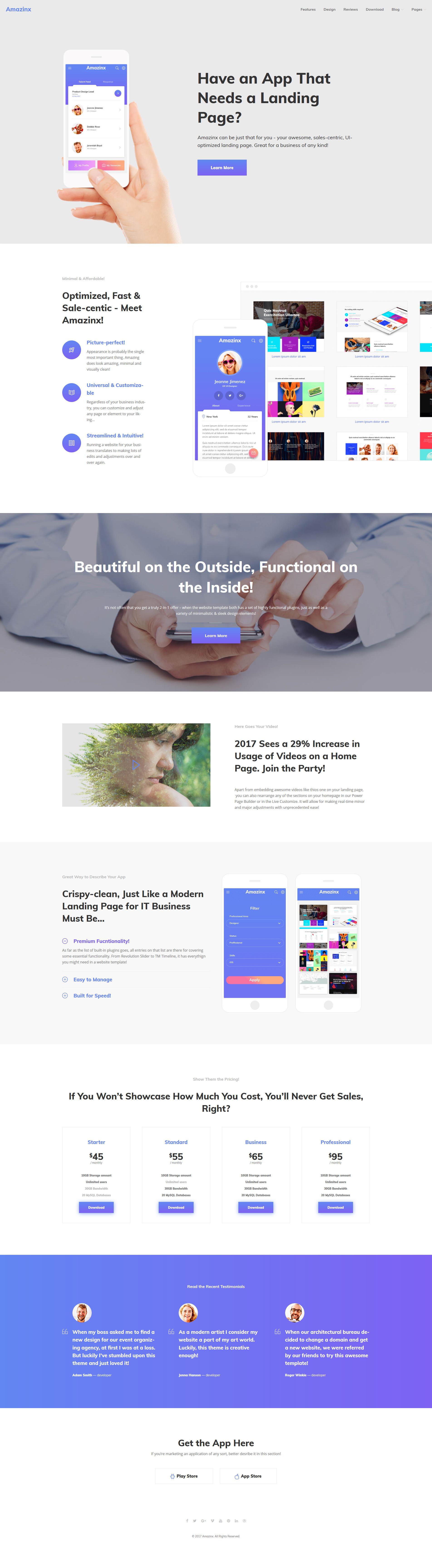 """Tema WordPress Responsive #64044 """"Amazinx - Mobile App Responsive One Page"""""""
