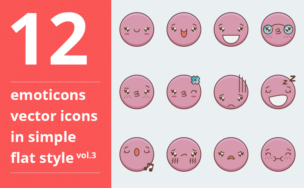 """Template Pacchetto Icone #64093 """"Emotions vector vol.3"""""""