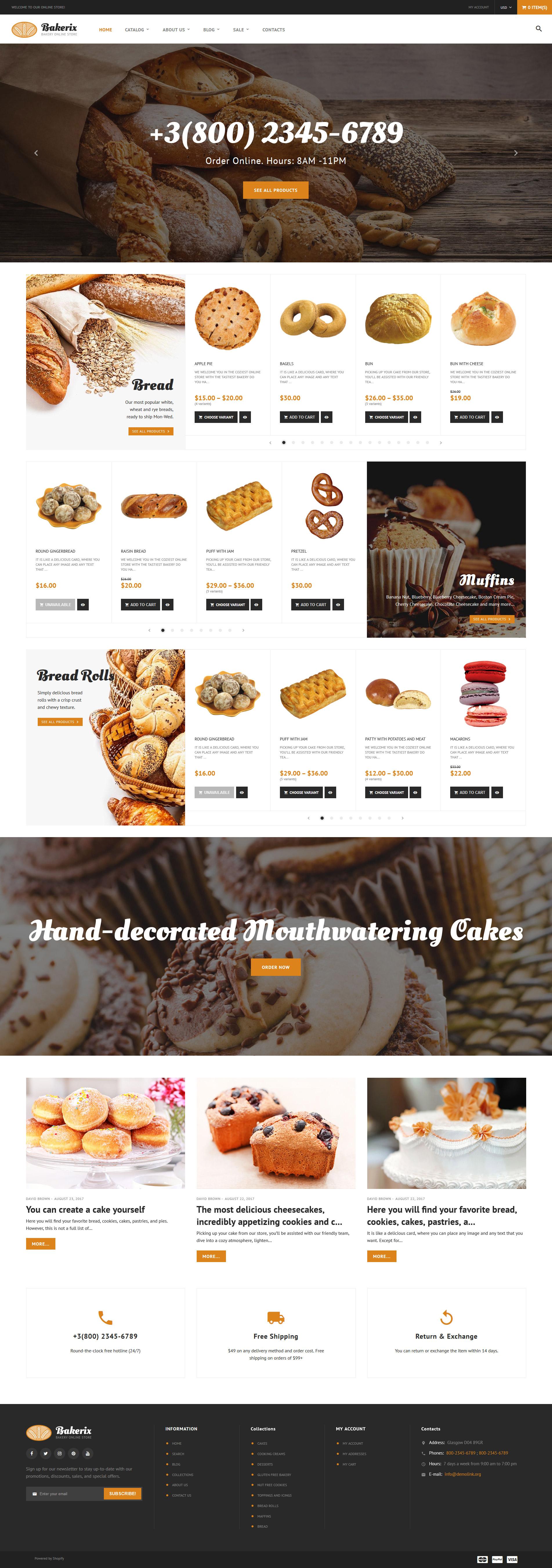 Thème Shopify adaptatif pour une boulangerie #64056 - screenshot