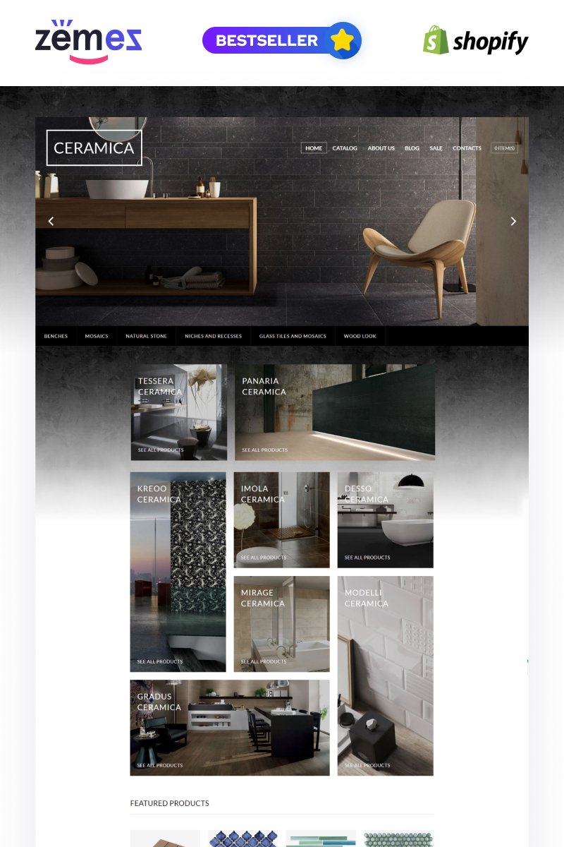 """Tile Stone Responsive"" Responsive Shopify Thema №64027"