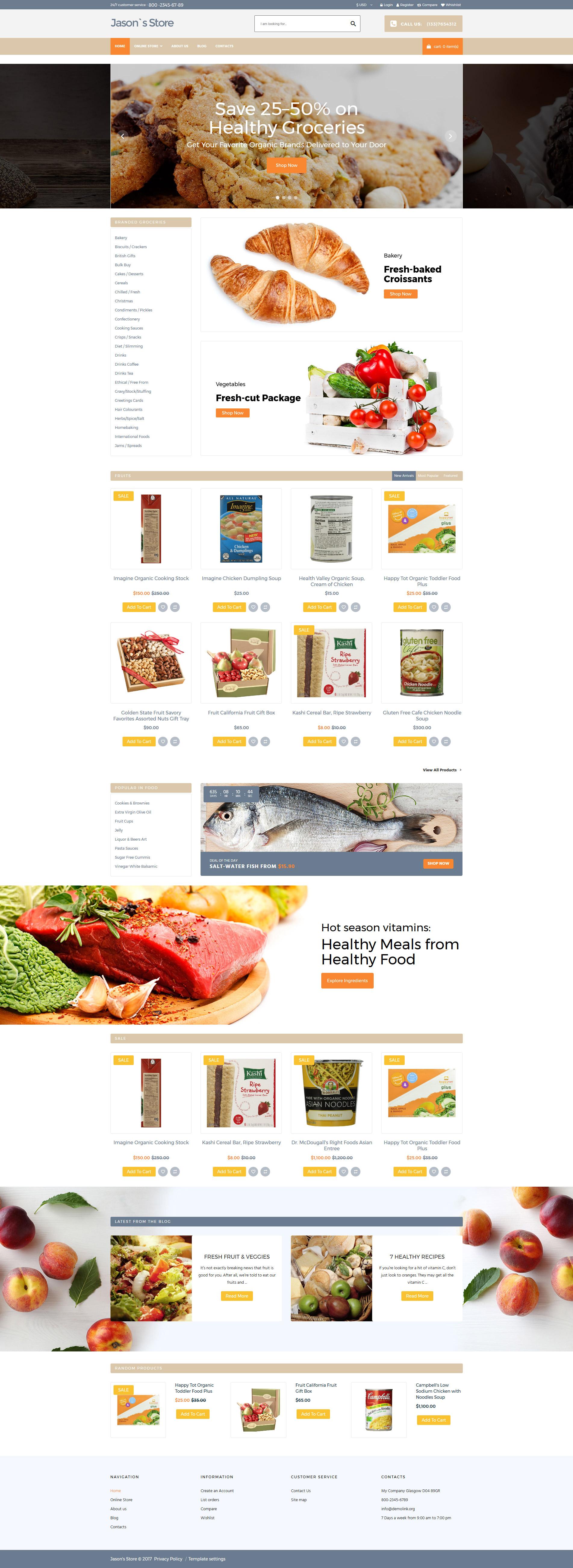 VirtueMart шаблон на тему продуктовий магазин №64033 - скріншот