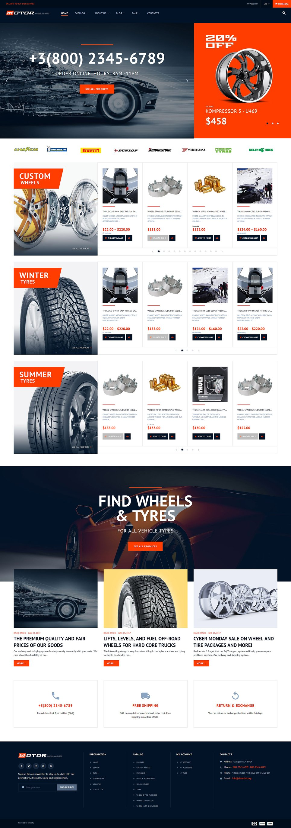 Wheels tires responsive shopify theme 64055 for Free shopify templates