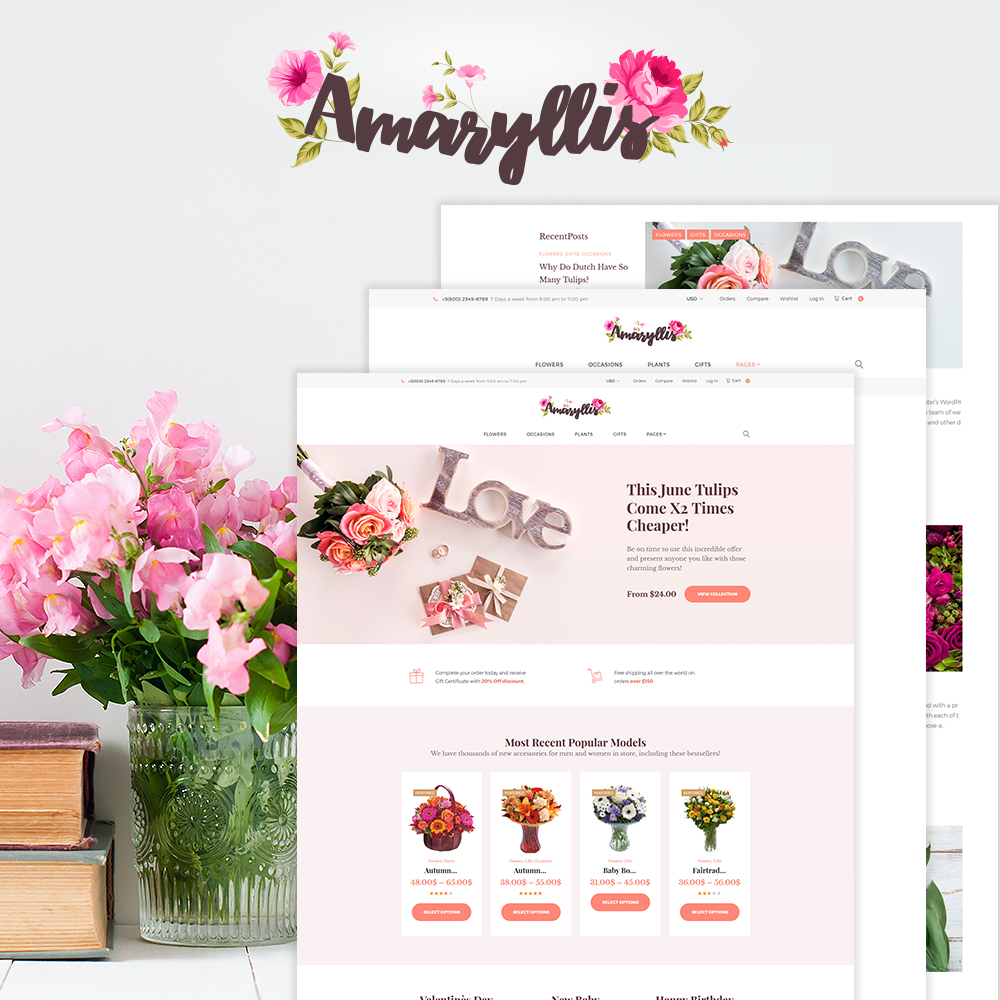 "WooCommerce Theme namens ""Amaryllis - Flower Shop"" #64038"