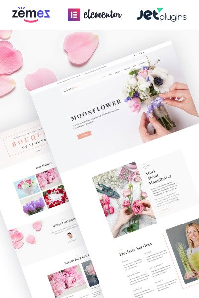 "WordPress шаблон ""Moon Flower - Flower Shop"" #64080"