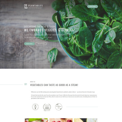 Responsives WordPress Theme für Vegetarisches Restaurant