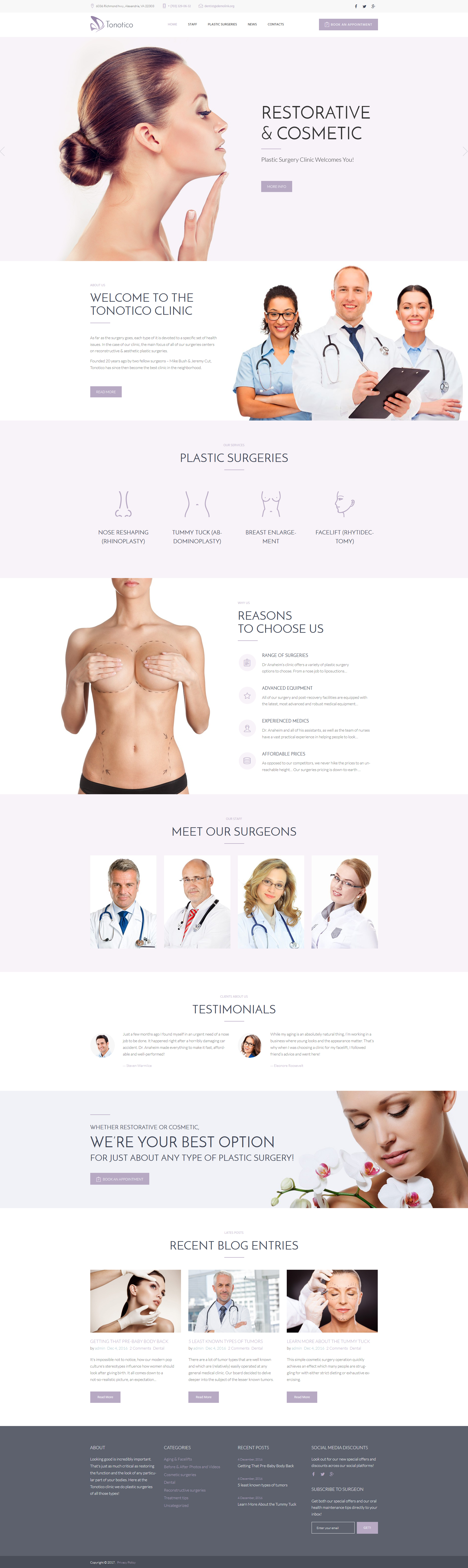 "WordPress Theme namens ""Tonotico - Plastic Surgery Clinic Responsive"" #64018"