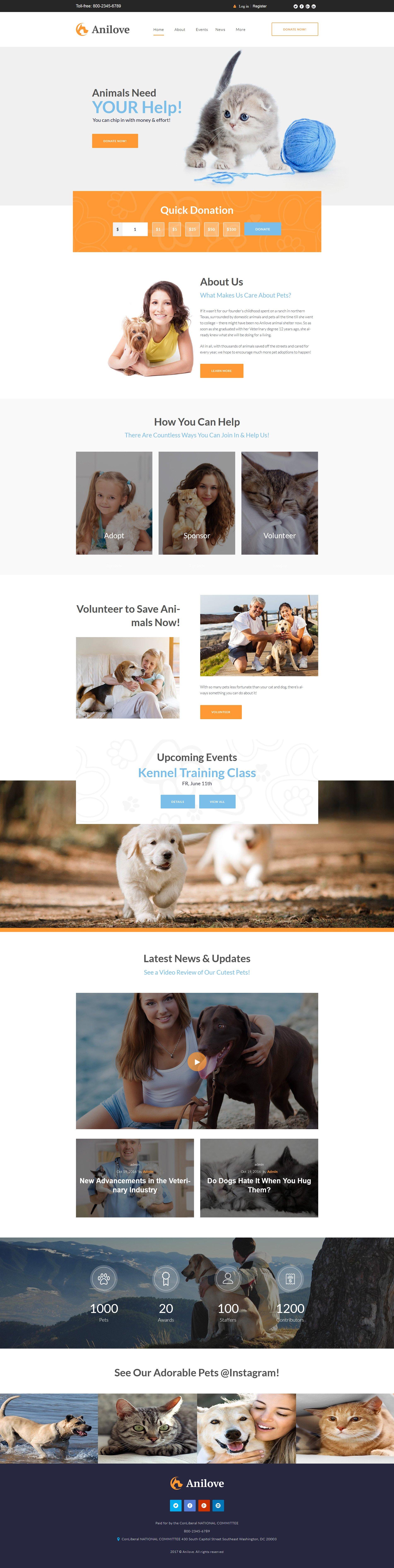 Адаптивный шаблон сайта на тему приют для животных #64141