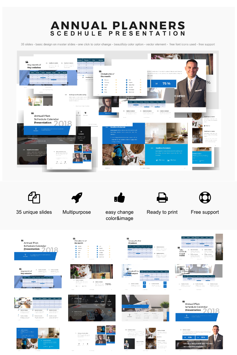 Annual Planner Presentation 2018 Template PowerPoint №64155