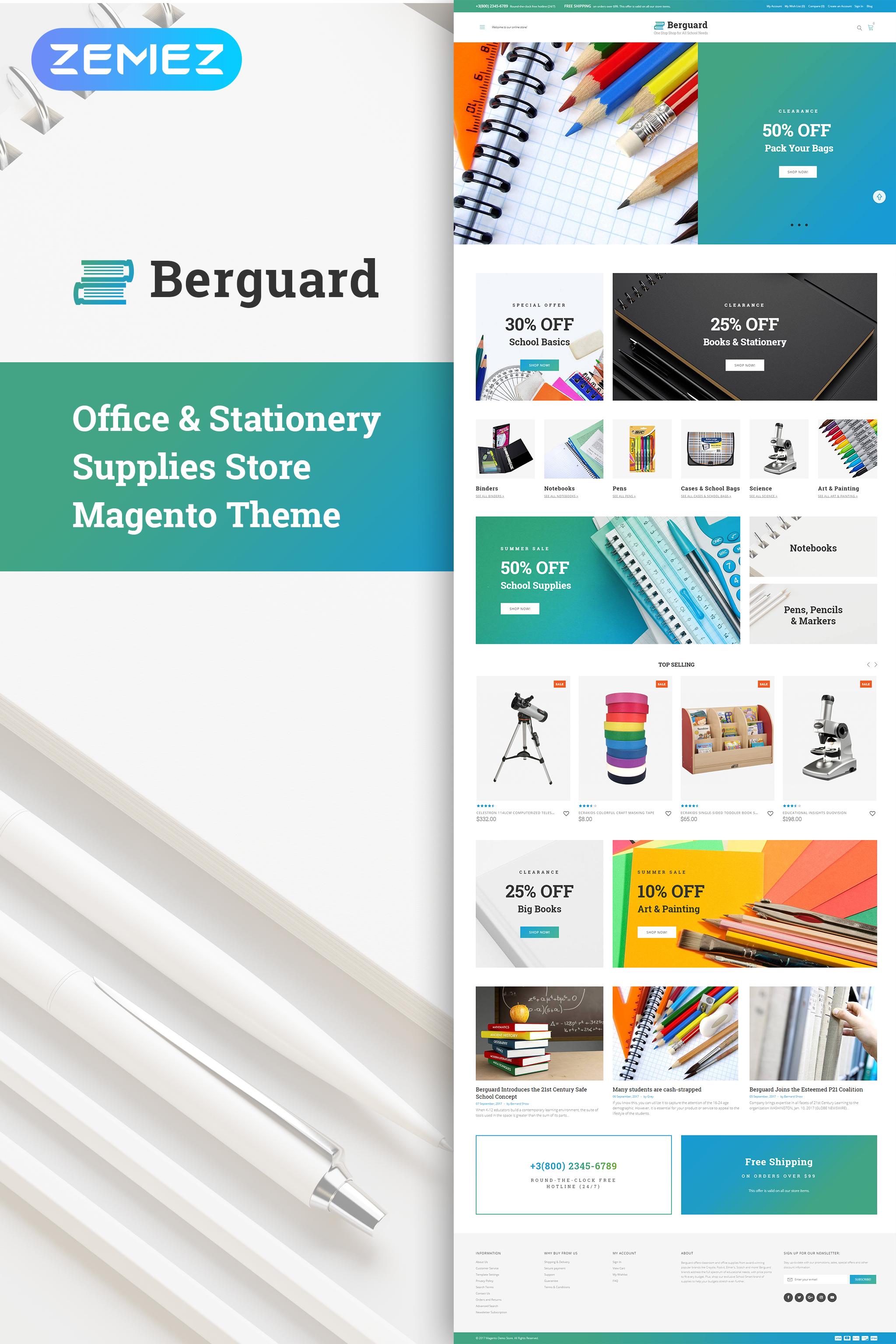 """Berguard - Office & Stationery Supplies"" Magento模板 #64137"