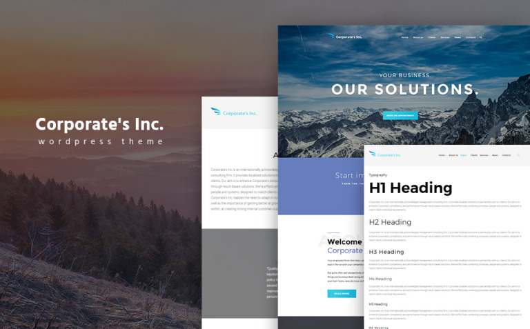 Corporate's Inc WordPress Theme New Screenshots BIG