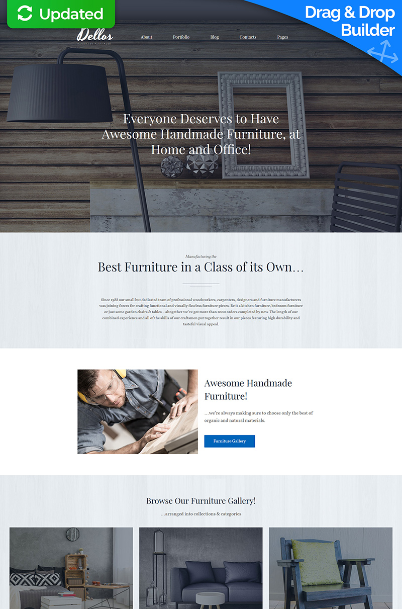 """Dellos - Handmade Furniture & Interior"" - адаптивний MotoCMS 3 шаблон №64169"