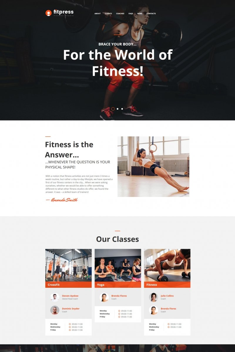 Fitness & Gym Template Moto CMS HTML №64193 - screenshot