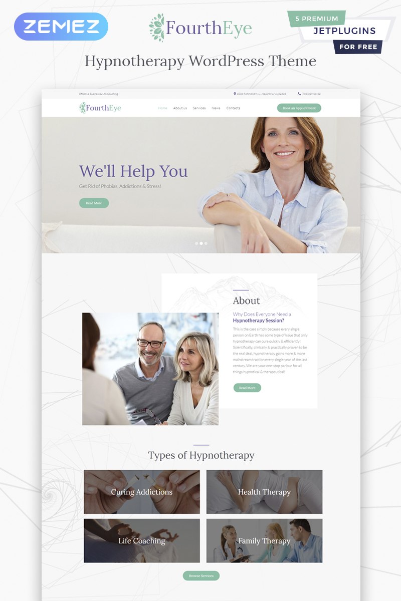 """FourthEye - Therapy Services Multipurpose Classic Elementor"" - адаптивний WordPress шаблон №64159 - скріншот"
