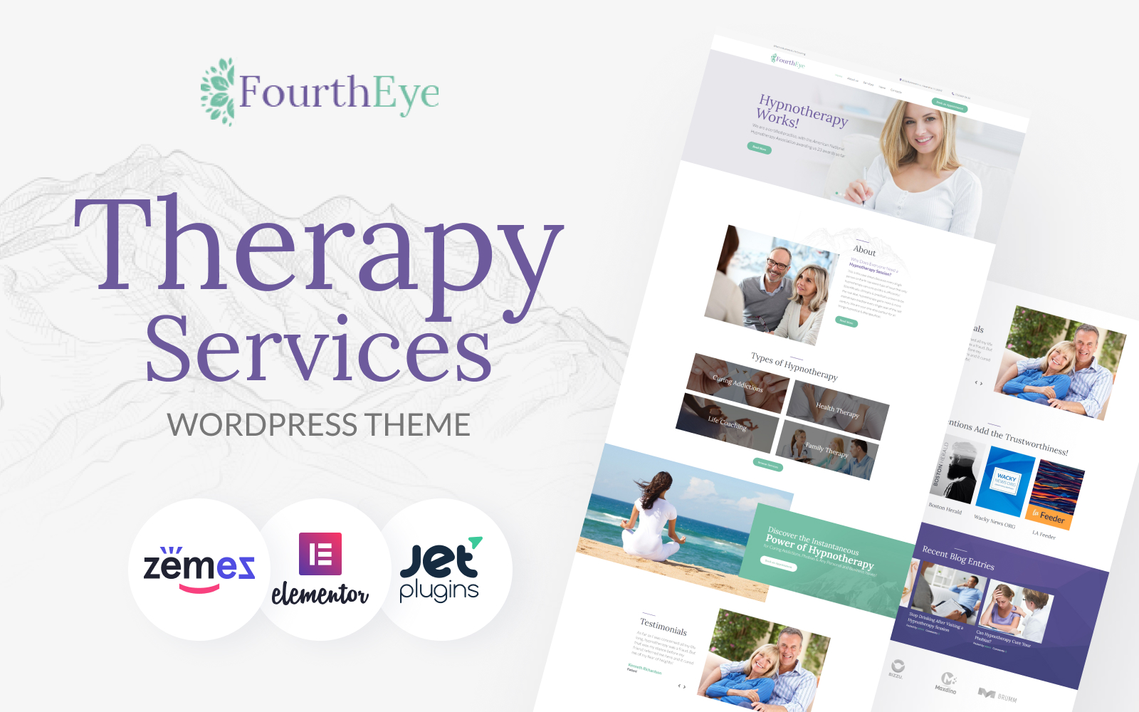 """FourthEye - Therapy Services Multipurpose Classic Elementor"" Responsive WordPress thema №64159"