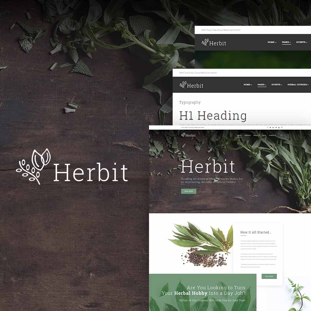 "Modello WordPress Responsive #64148 ""Herbit"" - screenshot"