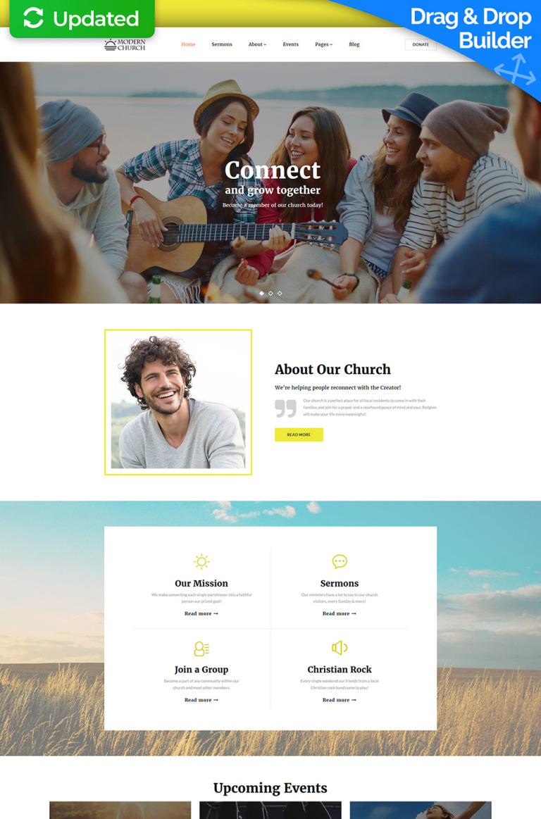 Modern Church - Religious Moto CMS 3 Template New Screenshots BIG