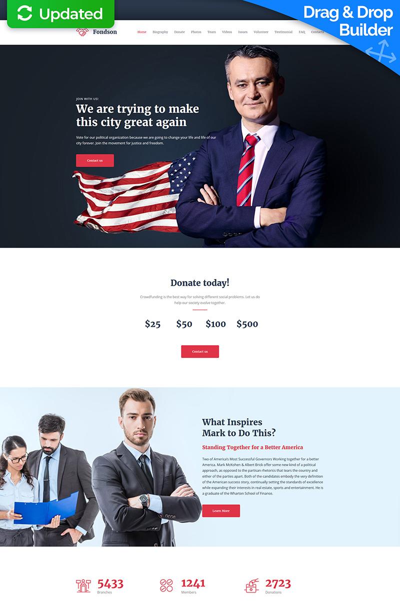 """Moto CMS 3 Template namens """"Fondson - Political Candidate Premium"""" #64197 - Screenshot"""