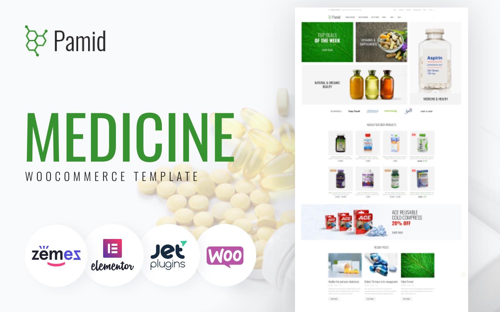 """Pamid - Drug Store Responsive WooCommerce Theme"" - адаптивний WooCommerce шаблон №64146"