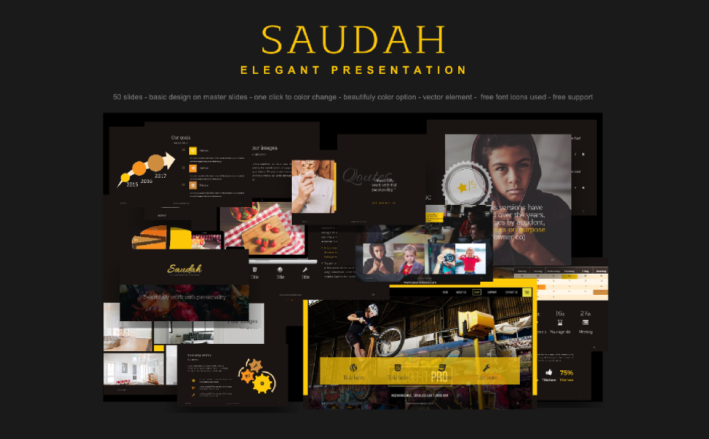 "PowerPoint šablona ""PowerPoint Template - Saudah Elegant Presentation"" #64154"