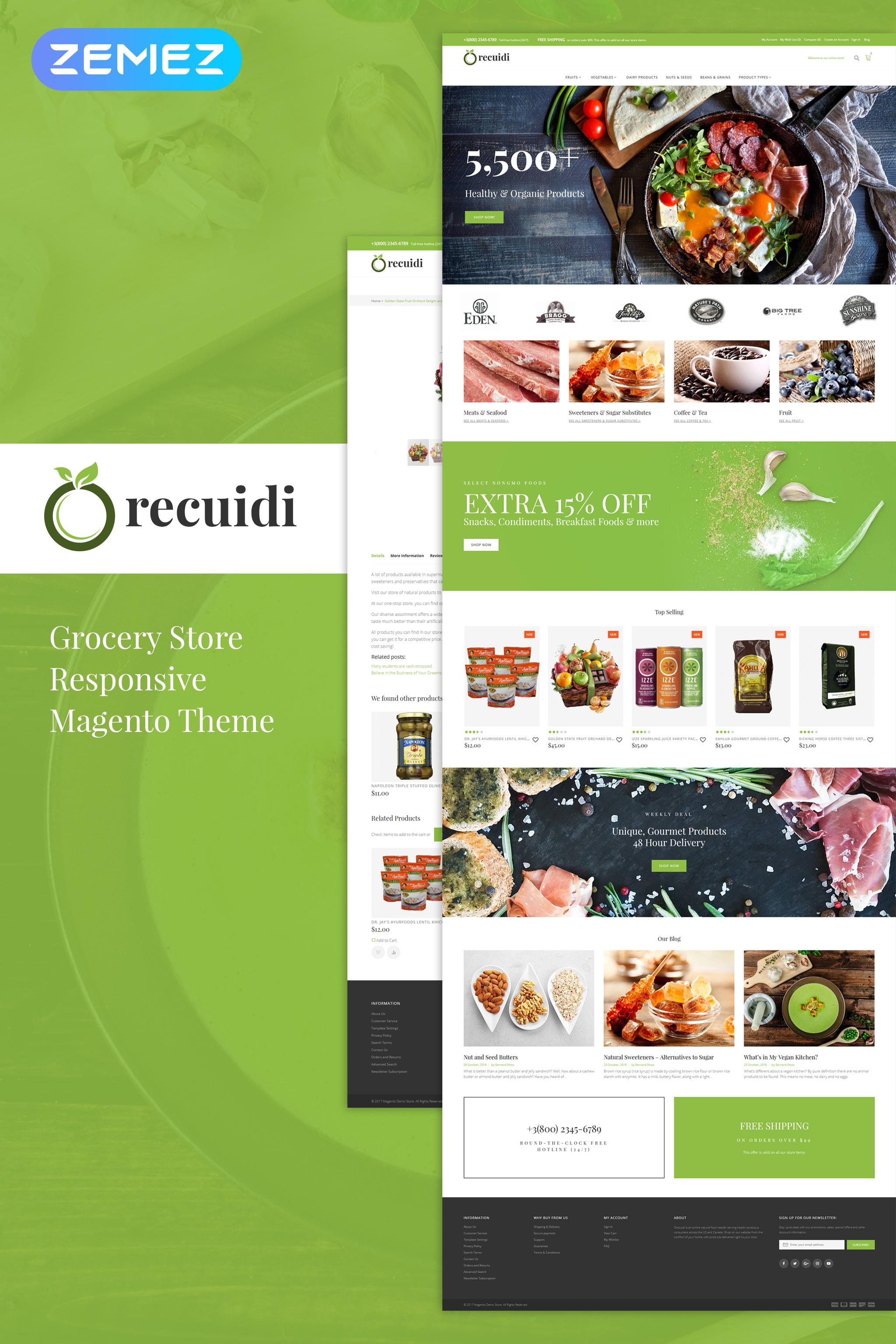 """Recuidi - Healthy Food Store"" - адаптивний Magento шаблон №64136"