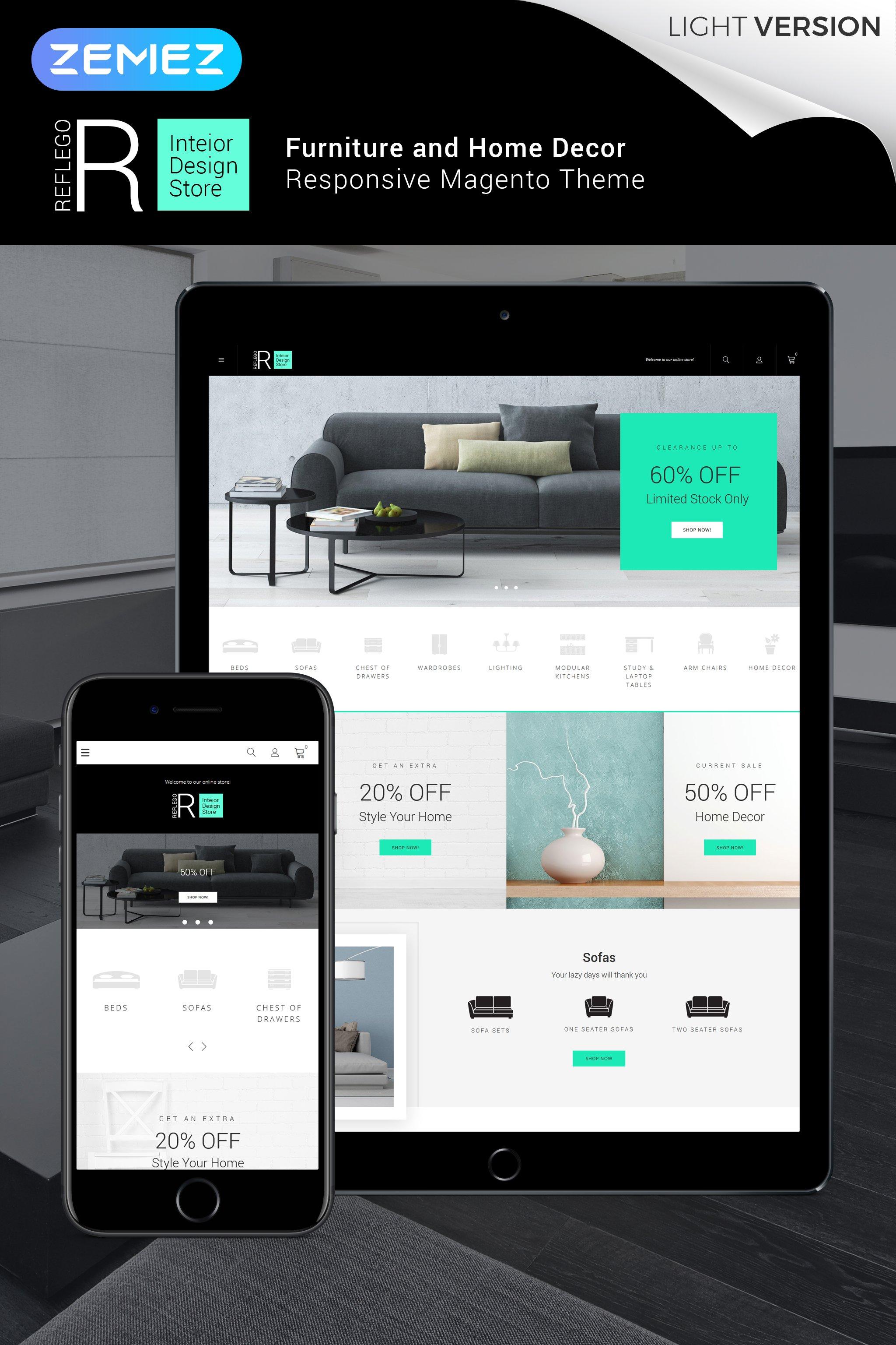 """Reflego - Furniture & Home Decor"" - адаптивний Magento шаблон №64138"