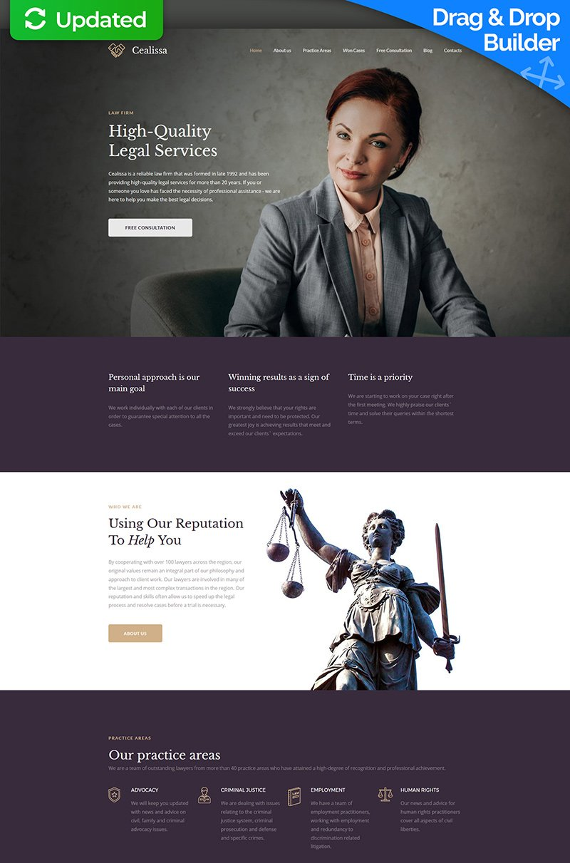 Responsive Cealissa - Lawyer & Attorney Premium Moto Cms 3 #64199 - Ekran resmi