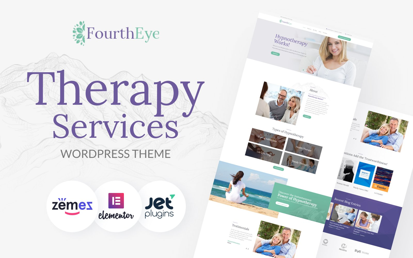 Responsive FourthEye - Therapy Services Multipurpose Classic Elementor Wordpress #64159