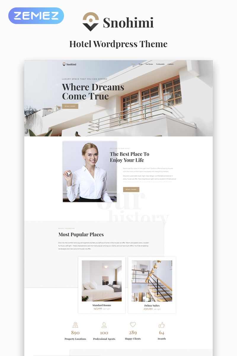 Responsivt Sanohimi Exotic Hotel WordPress Theme WordPress-tema #64142